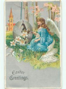 Pre-Linen easter BEAUTIFUL ANGEL HAMMERS ON LARGE EGG k2659