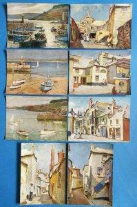 Vintage Art Postcard Set of 8, Around St Ives Cornwall by Herbert Truman 99Y