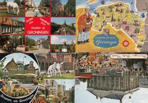 Groningen Market Map 4x Postcard s