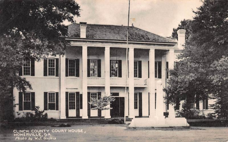 Clinch County Court House, Homerville, Georgia, Early Postcard, Used in 1952