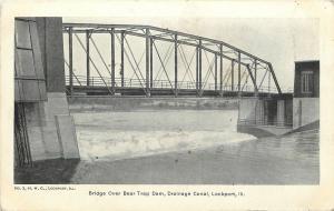 Lockport Illinois~Bridge over Bear Trap Dam~Drainage Canal~1905 B&W