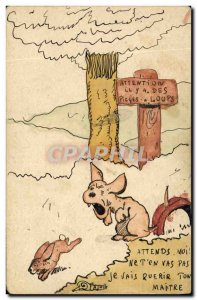 Postcard Old Rabbit Rabbit Dog Traps has wolves