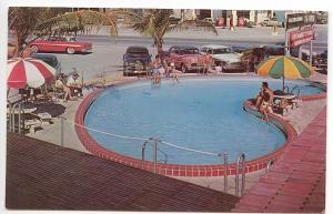 St Petersburg FL Buccaneer Resort & Motel Restaurant Swimming Pool Cars Postcard