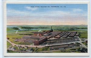 John Deere Tractor Co Plant Panorama Waterloo Iowa linen postcard