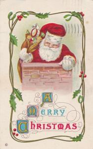 Merry Christmas Greetings - Santa in Chimney with Bag of Toys - pm 1913 - DB