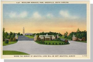 Greenville, SC Postcard, Woodlawn Memorial Park, Near Mint!