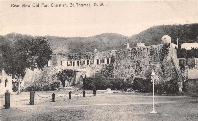 ST THOMAS DWI~REAR VIEW OLD FORT CHRISTIAN~LIGHTBOURNS~PHOTO POSTCARD c1910s