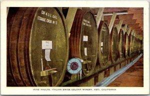 Vintage ASTI, California Postcard Wine Vaults, ITALIAN SWISS COLONY WINERY