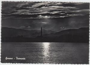 Genoa, Genova, Tramonto, Sunset, unused Real Photo RP Postcard