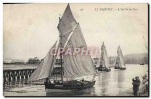 Postcard Old fishing boat Treport L & # 39entree port