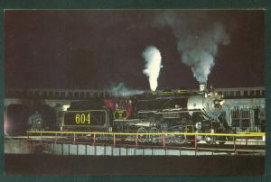 Southern Railway No 604 Turntable Roundhouse NIGHT SCENE Train Railroad Postcard
