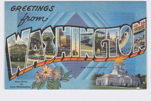 BIG LARGE LETTER VINTAGE POSTCARD GREETINGS FROM WASHINGTON STATE #2