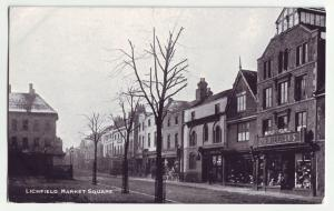P1155 old postcard street scene lichfield market sq store fronts united kingdom