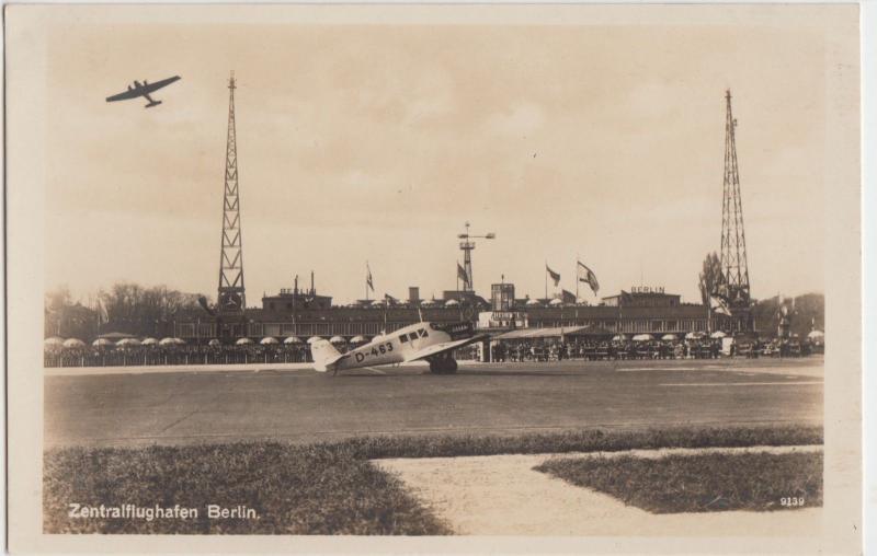Foreign Postcard BERLIN Germany RPPC ZENTRALFLUGHAFEN Airport Airplanes