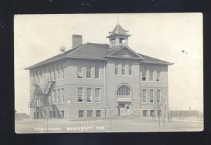RPPC BEAVER CITY NEBRASKA HIGH SCHOOL BUILDING VINTAGE REAL PHOTO POSTCARD