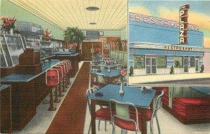 Linen Postcard Plaza Restaurant Thomasville GA Multiview Mid-Century Modern