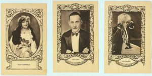 95688b- Lot of 5 VINTAGE ADVERTISING CARDS - CINEMA Actors: LON CHANEY, LEW CODY