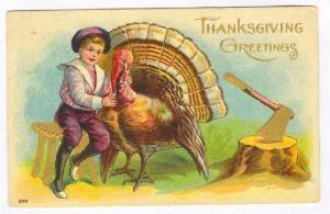 Thanksgiving, PU-1908, Boy, Turkey & chopping block