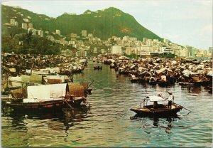 Boat People in Causeway Bay Typhoon Shelter Hong Kong China Vintage Postcard C3