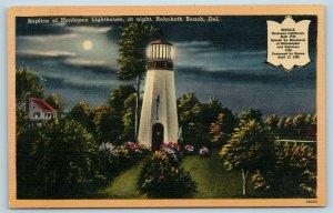 Postcard DE Rehoboth Beach Delaware Replica Henlopen Lighthouse At Night X5