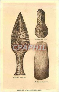 Postcard Old Weapons and tools prehitoriques Prehistory