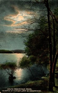 Massachusetts South Braintree Glimpse Of Sunset Lake By Moonlight 1911