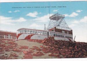 Colorado Pikes Peak Streamline Cog Train At Summit House 1955