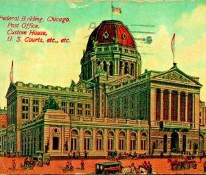 Correo Oficina Federal Edificio Traje Casa Chicago Illinois Il 1913 Vtg Postal