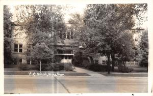 Alma Michigan~High School~Awning Over Front Doors~1940s Real Photo~RPPC