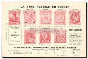 Old Postcard The postal charges in Europe Germania TOP