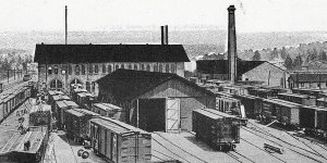 Postcard Early View of Erie Railroad Shops in Kent, OH. Reprint       R1