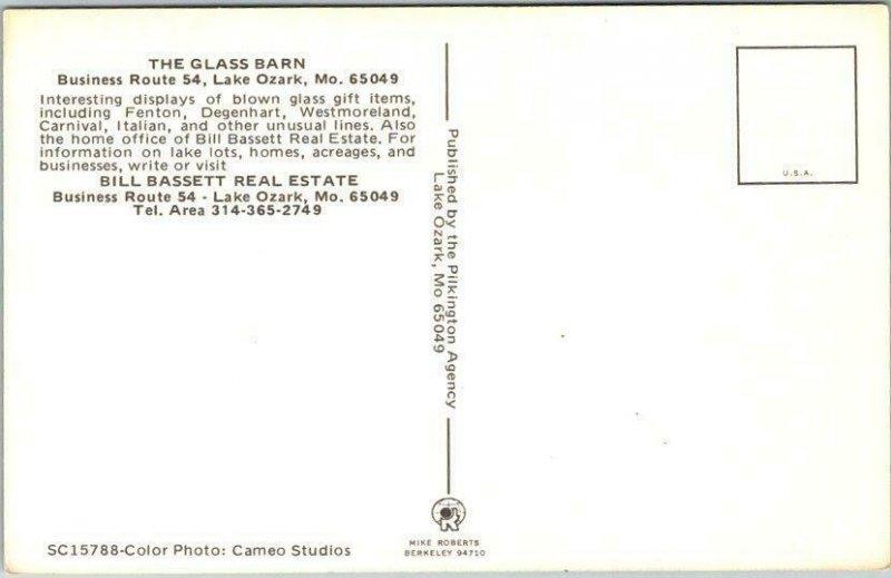 Lake Ozark, Missouri Postcard THE GLASS BARN Route 54 Roadside c1970s Chrome
