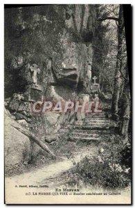 Old Postcard In Morvan Pierre Qui Vire stairs leading to Calvary