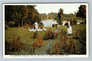 Sodus MI-Michigan, Banks Of St Joe River, Tabor Farm, Vintage Postcard