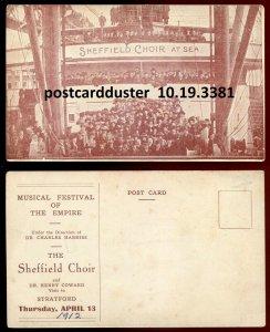3381- STRATFORD Ontario Postcard 1912 Sheffield Choir at Sea Concert Advertising