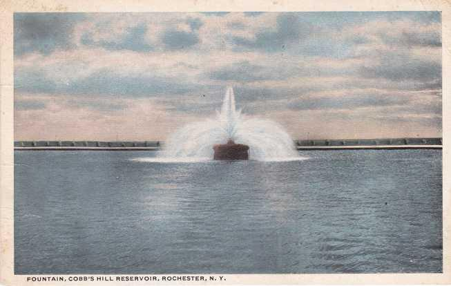 Fountain at Reservoir - Cobb's Hill Park NY, Rochester, New York - pm 1918 - WB