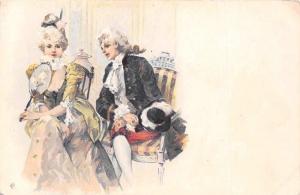Vintage Victorian Edwardian Fashion Clothing, Lovers, Couple Flirt, Postcard