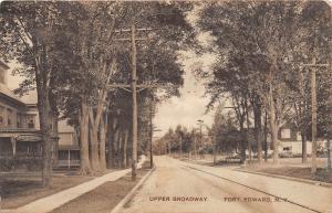New York NY Postcard c1910 FORT EDWARD Upper Broadway Homes