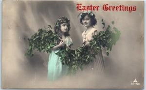 Vintage EASTER GREETINGS Real Photo RPPC Postcard 2 Girls Tinted Photo 1912