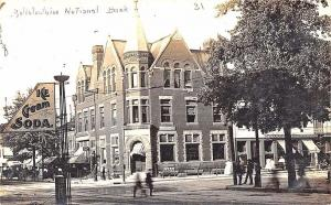 Bellefontaine OH National Bank Store Fronts Ice Cream Sign RPPC Postcard