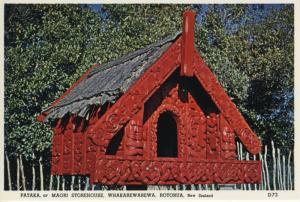 Pataka Maori Storehouse Whakarewarewa Rotorua NZ New Zealand Postcard D22