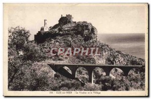 Old Postcard Eze Sur Mer Viaduct And The Village