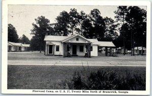 Darien, Georgia Postcard PINEWOOD CAMP Highway 17 Roadside 1941 Cancel