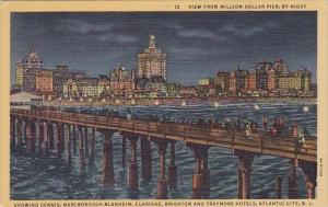 View From Million Dollar Pier By Night Atlantic City New Jersey