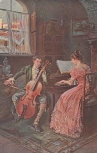 AS: Painting of Man playing cello and woman playing piano, 00-10s