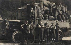 Early European Truck Filled w/ Sacks Men Working c1910 Real Photo Postcard