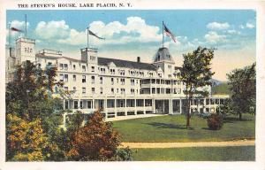 LAKE PLACID NEW YORK THE STEVEN'S HOUSE POSTCARD c1920s