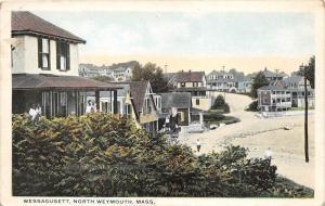 25806 MA, North Weymouth, 1915, Wessagusett, man walking along shore