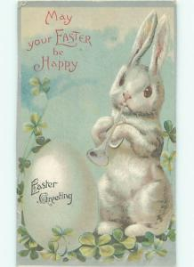 Pre-Linen Easter HUMANIZED BUNNY RABBIT PLAYING TRUMPET HORN AB3337