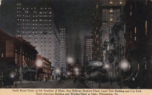 South Broad Street at night , PHILADELPHIA , Pennsylvania , PU-1913